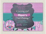 Purple First Birthday Invitations Girls 1st Birthday Invitation Purple Green Owl