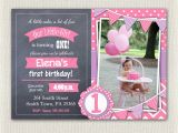 Purple First Birthday Invitations Pink and Purple 1st Birthday Invitation Girls Chalkboard