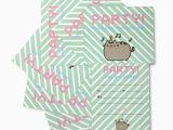 Pusheen Birthday Invitations Pack Of 8 Pusheen Party Invitation Cards Envelopes
