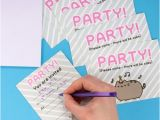 Pusheen Birthday Invitations Thumbs Up Uk Pusheen Party Invites