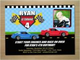 Race Car Birthday Invitations with Photo Race Car Birthday Invitation Digital File by Squigglesdesigns