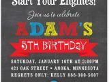 Race Car themed Birthday Invitations Boy Birthday Invitations Red Race Car Chalkboard Birthday