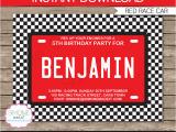 Race Car themed Birthday Invitations Race Car Party Invitations Template Birthday Party