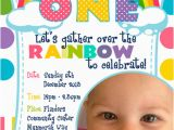Rainbow First Birthday Invitations Dream Designs Photography Rainbow 1st Birthday Invitation