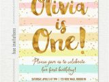 Rainbow First Birthday Invitations Rainbow 1st Birthday Invitation for Girl Pastel Stripes Gold