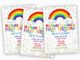 Rainbow First Birthday Invitations Rainbow 1st Birthday Invitation From Partyprintexpress