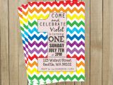 Rainbow First Birthday Invitations Rainbow Chevron One Rainbow First Birthday Invitation Custom