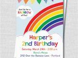 Rainbow themed Birthday Party Invitations Colorful Rainbow Birthday Party Invitation Rainbow themed