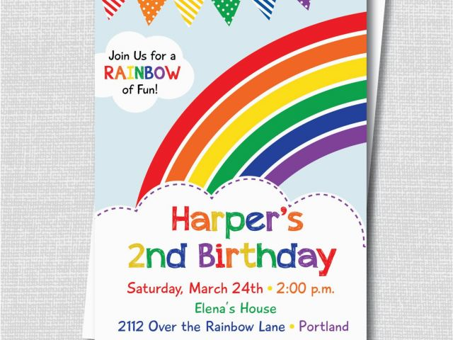 Rainbow Themed Birthday Party Invitations Colorful