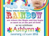 Rainbow themed Birthday Party Invitations Rainbow Birthday Party Invitation Meylah