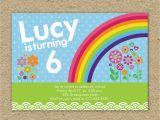 Rainbow themed Birthday Party Invitations Rainbow Birthday Party Invitation Modern Rainbow Birthday