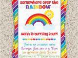 Rainbow themed Birthday Party Invitations Rainbow Party Invitation Rainbow Invitation by Invitationblvd