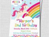 Rainbow themed Birthday Party Invitations Rainbow Unicorn Birthday Party Invitation Unicorn themed