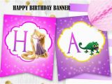 Rapunzel Happy Birthday Banner Rapunzel Birthday Banner Tangled Happy Birthday Banner Digital