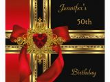 Red 50th Birthday Decorations 50th Birthday Party Red Gold Heart Jewel Card Zazzle
