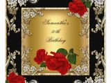 Red 50th Birthday Decorations Elegant 50th Birthday Party Gold Red Rose Black Card