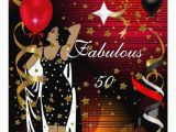 Red 50th Birthday Decorations Fabulous 50 Fifty Birthday Party Black Red Stars 2 Card