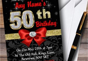 Red 50th Birthday Decorations Black Gold Diamond Party Personalised