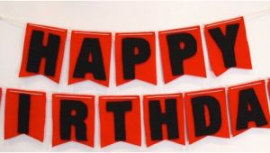 Red and Black Happy Birthday Banner Items Similar to Happy Birthday Felt Flag Banner In Red