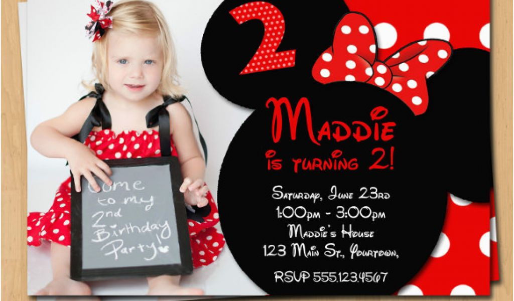 Red And Black Minnie Mouse Birthday Invitations 32