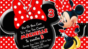 Red and Black Minnie Mouse Birthday Invitations Red Minnie Mouse Birthday Invitations