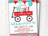 Red Wagon Birthday Invitations Little Red Wagon Birthday Party Invitation Red Wagon Party