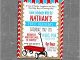 Red Wagon Birthday Invitations Little Red Wagon Invitation Red Wagon Birthday Invitation