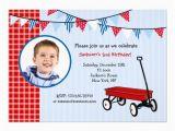 Red Wagon Birthday Invitations Little Red Wagon Photo Birthday Party Invitations Zazzle