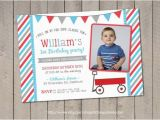 Red Wagon Birthday Invitations Red Wagon Birthday Invitation Red Wagon Invitation Little