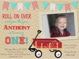Red Wagon Birthday Invitations Vintage Look Little Red Wagon 1st Birthday Party