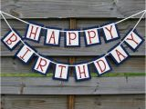 Red White and Blue Happy Birthday Banner Happy Birthday Banner Red and Blue by Craftyearth On Etsy