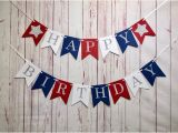 Red White and Blue Happy Birthday Banner Happy Birthday Patriotic Birthday Red White Blue