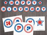 Red White and Blue Happy Birthday Banner Instant Download Patriotic Happy Birthday Banner Patriotic