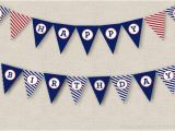 Red White and Blue Happy Birthday Banner Nautical Birthday Banner Instant Download Printable Pdf Happy