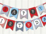 Red White and Blue Happy Birthday Banner Nautical Birthday Pennant Red White Blue Birthday Banner