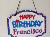 Red White and Blue Happy Birthday Banner Red White Blue Happy Birthday Banner or Door Sign