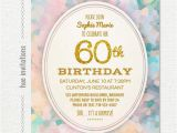 Religious Birthday Invitations 60th Birthday Party Invitation Pastel Watercolor Gold Glitter