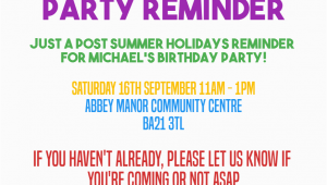 Reminder Birthday Invitation Birthday Invitation Reminder Message Birthday Tale