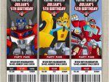 Rescue Bots Birthday Invitations Personalized Transformers Rescue Bots Birthday Ticket