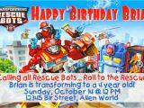 Rescue Bots Birthday Invitations Transformer Rescue Bots Birthday Invitation or Thank You Note