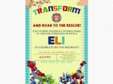 Rescue Bots Birthday Invitations Transformers Rescue Bots Dinobots Birthday Invitation