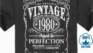 Retro Birthday Gifts for Him Vintage 1980 Aged to Perfection Mens T Shirt Birthday Gift