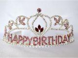 Rhinestone Birthday Girl Tiara Flower Birthday Girl Tiara with Pink Rhinestones Birthday