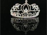 Rhinestone Birthday Girl Tiara Happy Birthday Princess Crown Rhinestone Crystal Silver