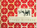 Rhino Birthday Card Happy Birthday Rhino Rhinoceros Card