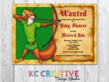 Robin Hood Birthday Party Invitations Robin Hood themed Custom Printable Baby Shower Invitation