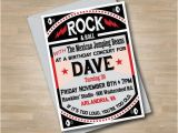 Rock and Roll Birthday Invitations Rock N Roll Adult Concert Birthday Invitation