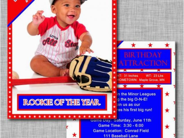 Rookie Of The Year 1st Birthday Invitations Baseball Card Invitation