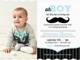 Rookie Of the Year 1st Birthday Invitations Blue and Black Moustache 1st Birthday Invitation Boy
