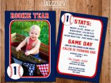 Rookie Of the Year 1st Birthday Invitations Printable Baseball Card Stats Birthday Photo Invitation
